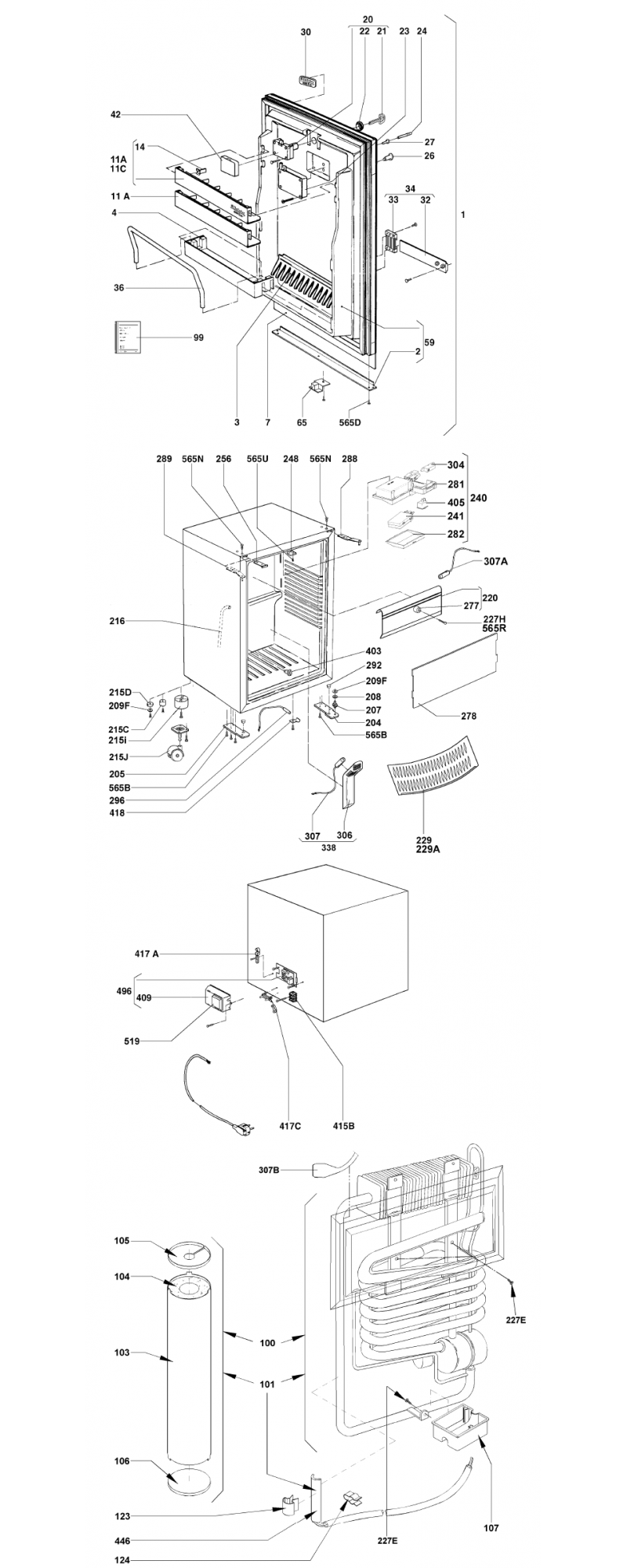 Despiece minibar Dometic RH448
